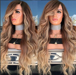 Wholesale Best Quality Body Wave BT27 Ombre Black to Blonde Color Lace Front Wig Swiss Lace Hair Wigs In Stock