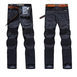 Military cargo jeans online shopping - Midweight Cargo Jeans Men Big Size Casual Military Multi Pocket Jean Male Clothes Luxury Jeans Mens Designer Jeans