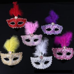 Chinese  2017 New Style Feather Lace Mask Girl Masquerade Crystal Dance Mask For Helloween Party Decoration Banquet Ball Wholesale manufacturers