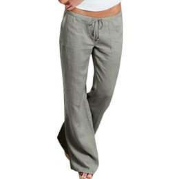 Chinese  Women High Waist Elastic Linen Trousers Female Straight Casual Pants Loose Long Wide Leg Trousers manufacturers