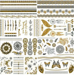 $enCountryForm.capitalKeyWord NZ - 8Pcs Body Paint Makeup Gold Tattoo Flash Tattoos Temporary Tattoo Makeup Metallic Tatto Body Bronzer Waterproof Temporary Tattoo