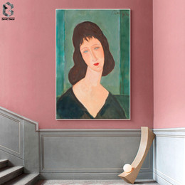 Picture Canvas Prints NZ - Amedeo Modigliani of Italy Artist Canvas Art Poster and Print Girl Portrait Wall Painting Picture for Living Room Home Decor