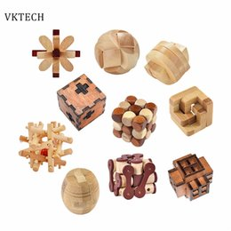 Wood Game Ball Australia - Wooden Toys Ming Lock Toys for Children Kids Assembling 3D Puzzle Ball Cube Challenge IQ Brain Wood Toy Games Kids Toys