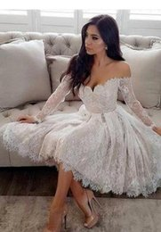 $enCountryForm.capitalKeyWord Australia - 2019 sexy lace off the shoulder Short Wedding Dresses plus size long sleeves Corset Beaded Sweetheart knee length Bridal Gowns custom made