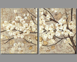 $enCountryForm.capitalKeyWord NZ - Retro Chinese Japan style decoration white flowers wall art picture yellow old leaf trees Canvas Painting living room unframed