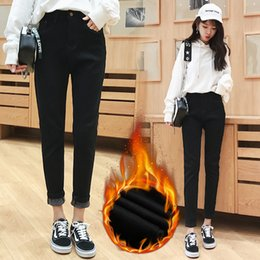 8a8e8813257 2017 Cashmere Winter Warm Jeans Women With High Waist Black Thick Jeans For  Girls Stretching Skinny jeans Large Size Pants CS716