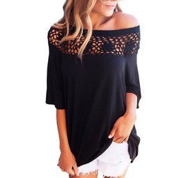 b1e583cbf2f 2019 New Black White Lace Patchwork Blouses Women Tops Summer Autumn Sexy  One Shoulder Shirts Casual Loose Blouse Blusas