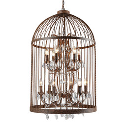 Chinese  American country industrial wind wrought iron crystal bird cage chandelier Nordic retro restaurant clothing store stairs bar lamps manufacturers