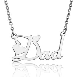 Fathers Day Gifts For Dad NZ - wholesale 10pcs lot Engraved Letters Dad Stainless Steel Necklace Pendant Family Jewelry Gift For Father Day Birthday Gift