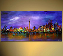 $enCountryForm.capitalKeyWord Australia - contemporary oil painting new york city wall art palette knife textured oil painting cheap modern art paintings discount wall decoration quo