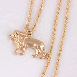 Lion head charm goLd online shopping - Lion Head Necklace for Women Men Jewelry Gold Color Lions Pendant Animal Necklace Africa Lion Ethiopian Best Gift Charm Necklace