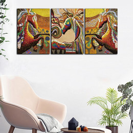 large horse canvas art print NZ - Large 3 Panel HD Prints Poster Abstract Colorful Horse Oil Painting Home Wall Art Picture On Canvas For Living Room Decorative