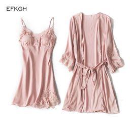 Pajamas Robe 2018 Hot Winter Sexy Lace Nightgowns Women Bathrobe Set  Nighties Dress Long Sleeve Blouse Female Sleepwear Pijamas 5f7a8686d