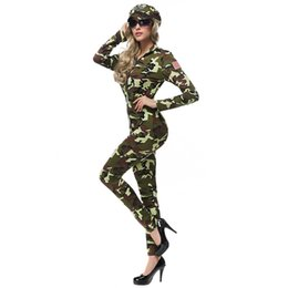 Chinese  Halloween COSPLAY Army Green Female Instructor Female Officer Bar Nightclub Camouflage Theme Party Suit Uniform Set manufacturers