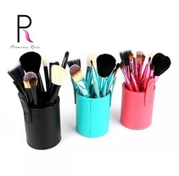 $enCountryForm.capitalKeyWord NZ - Princess Rose 12pcs Make Up Brush Set Makeup Brushes Kit Pinceis Maquiagem Pincel Pinceaux Maquillage +Leather Brush Holder