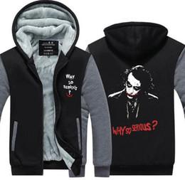 20e8114f5 2018 Hot New Thicken Coat Cotton Jacket Batman The Dark Knight Joker Why So  Serious Men's Zipper Hoodie Fleece Sweatshirts Tops