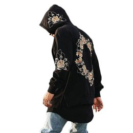 floral hoodies UK - Hoodies Men Embroidery Floral Hooded Pullover High Street Fashion Cotton Hip Hop Zipper Streetwear O-neck Hoodie Autumn