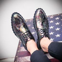 7ed8f972d847 yellow flats wedding shoes 2018 - Men Dress Shoes Floral Pattern Men Formal  Flats Leather Luxury