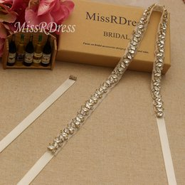 MissRDress Thin Wedding Dress Belt Sash Gold Crystal Diamond Rhinestones Bridal Belt Sash For Wedding Decoration YS863