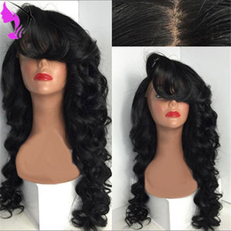 Lace Part Wigs Bangs NZ - Stock Glueless Synthetic Lace Front Wig With Bangs free part Heat Resistant Cheap women Wig Perucas In Stock Free Shipping