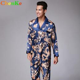 c403991e2b ChenKe Luxury pajamas Sets Men With Pockets Dragon Robe Pattern Sleepwear  Silk Satin Men s Lounge Pajamas Set Plus Size 2XL