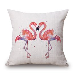 patterned car seat cushions Canada - 1Pcs Flamingo Pattern Cotton Linen Throw Pillow Cushion Cover Seat Car Home Decoration Sofa Decor Decorative Pillowcase 40158