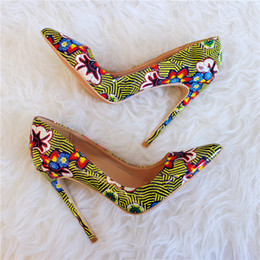 floral print shoes women Australia - Floral Patterns Printed Women Sexy Super High Heels Ladies Pointed Toe Stilettos Pumps Fashion Dress Shoes