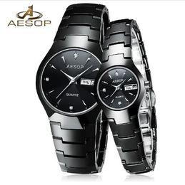 8342136e7169 AESOP 2018 Amantes de la Cerámica Pareja Reloj Mujeres Hombres Cristal de  Zafiro Reloj de pulsera de Cuarzo Reloj de Señoras Montre Femme Relogio  Feminino ...