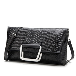 29d2f288145c European style fold over envelope alligator women handbag made of genuine leather  ladies day clutches evening party bag female