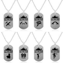 Wholesale Fortnites Necklace Fortress Night Necklace Fortnit Stainless Steel long Chain Pendant Men Tag Game battlegrounds