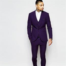 ea87ff489c22 2017 Groomsmen Shawl Lapel Groom men suit Tuxedos Purple Mens Suits Slim  Fit Wedding Best Man Blazer (Jacket+Pants+Vest+Tie)