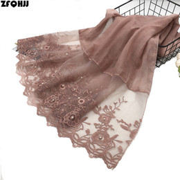 grey cotton lace scarves NZ - ZFQHJJ High Quality Elegant Women Cotton Scarf Double Side Embroidery Floral Lace Silk Scarf Wedding Party Muslim Hijabs Scarves S18101904