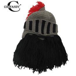 31df239d2c6d8 only Hats Knight Cosplay not Hat wring Hand Caps Helmet Tassel Winter Shape  Do Bearded Warm Beard Knit Men s wash Funny