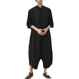 5e7f16cb12a7 Summer Mens Loose Cargo Pants Jumpsuits Fashion Design One Piece Black  Rompers Harajuku Streetwear Overalls Male Hip Hop Rompers
