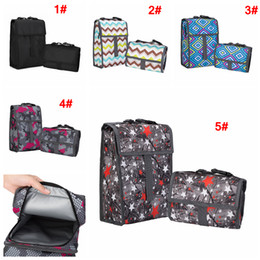 Cool tote lunCh bag online shopping - Portable Print Oxford Cloth Lunch Bag Organizer Zipper Cooler Insulation Travel Picnic Bags Tote Carry Case Outdoor Bags Colors AAA781