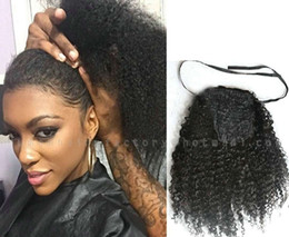 $enCountryForm.capitalKeyWord Australia - 120g Kinky Curly Ponytail Hair Extenions Clip in Unprocessed Real Brazilian Hair Ponytail Afro Kinky Curly natural puff free delivery ship