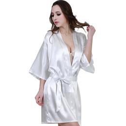 f5f6ded8cfa New Arrival White Sexy Women Robe Silk Kimono Bathrobe Bridesmaid Robes  Home Wear Ladies Dressing Gowns Sleepwear Vestido S-XXL