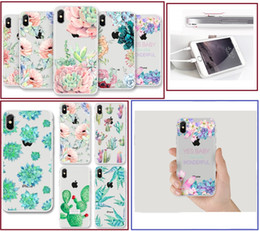 Per iPhone X 5S 6S 7 8 Plus Custodia Lovely Succulents verniciato TPU Cover posteriore in silicone shell per Samsung Galaxy S6 bordo S7 S8 S9 Plus Nota 8