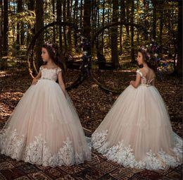 Custom elegant pageant sashes online shopping - 2018 Elegant Sheer Cap Sleeves Tulle A Line Flower Girl s Dresses Lace Applique Beaded Sash Girl s Pageant Dresses BA7631
