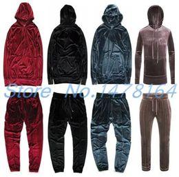 $enCountryForm.capitalKeyWord NZ - Fashion Men Women Hip Hop Velour Velvet Pullover Tracksuit Kanye Hoodie Pants Joggers Streetstyle Sweatshirt Casual Free shipping