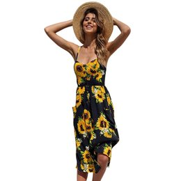 16f03301870 Sexy V Neck Backless Floral Print Summer Beach Dress Women 2019 Boho Button  Sunflower Daisy Pineapple Party Mid-calf Dresses