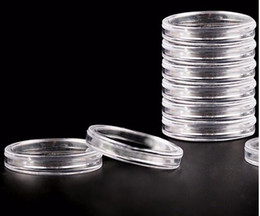 25mm Round Clear NZ - 10Pcs lot 25mm 27mm 30mm 40mm Clear Coin Holder Cases Round Storage Ring Plastic Boxes 10 x Coin