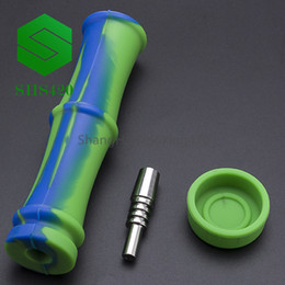 $enCountryForm.capitalKeyWord Australia - Bamboo Silicon Nectar Collector Kit L=140mm D=21mm With Stainless Steel Tip Mixed Colored Portable Tobacco Mini Pipe Silicon Dab Oil Rig DHL