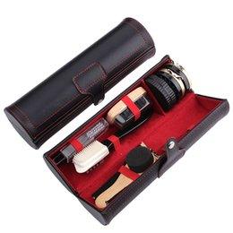 10 En los kits de atención 1 Neutro Lustrabotas Negro Brillante Zapatos sistema de cepillo con la caja de barril para las botas en venta
