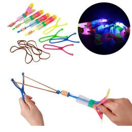 Boys Toys Helicopter Australia - Large LED Light Slingshot Elastic Arrow Rocket Helicopter Flying Toy Party Fun Gift