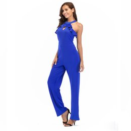 f715301d810 Ruffle Keyhole Halter Loose Jumpsuit Women Solid 3 Colors Elegant  Sleeveless Rompers Summer Business Overall Work Wear