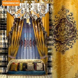 luxury blackout curtains NZ - Custom curtains Luxury Yellow gold European Jacquard embroidered Thick Chenille cloth blackout curtain tulle valance drape N729