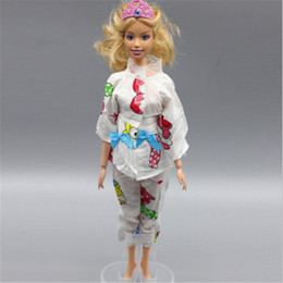 Toy Furniture Wholesale NZ - 1set Doll Pajamas Nightgown Sleepwear Clothes Outfit Lace Collar Top & Pants Set For Doll Clothes Accessories Girl Toys
