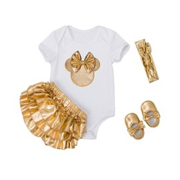 $enCountryForm.capitalKeyWord UK - 4pcs Sets Baby Girl Clothes Sets Infant Newborn Clothing Cotton Rompers Ruffle Bloomers Shoes Headband Ropa De Bebes Infantil Y18100905