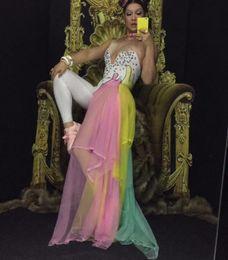 $enCountryForm.capitalKeyWord NZ - Colorful Rhinestones Bodysuit Leggings Costume Female Singer Stage Wear Mash Skirt Dance WEAR Party Stretch Jumpsuit Outfit S916